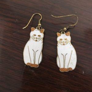 Vintage metal cat earrings